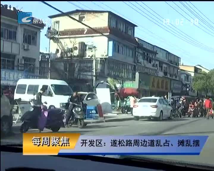 【每周聚焦】开发区:遂松路周边道乱占、摊乱摆