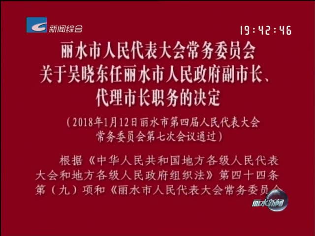 丽水市人民代表大会常务委员会关于吴晓东任丽水市人民政府副市长、代理市长职务的决定