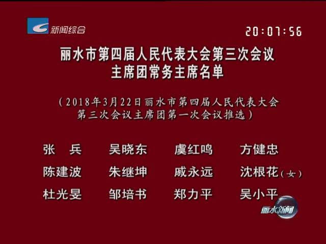 丽水市第四届人民代表大会第三次会议主席团常务主席名单