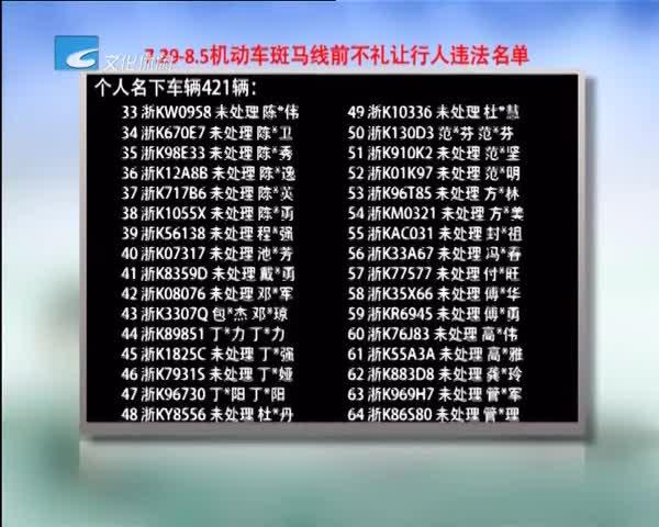 不礼让曝光台:7.29-8.5机动车斑马线前不礼让行人违法名单