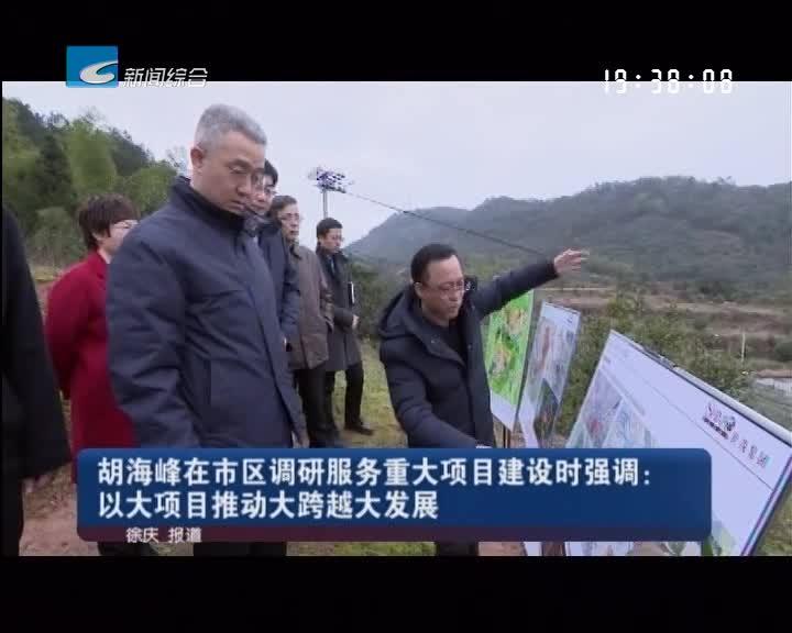 胡海峰在市区调研服务重大项目建设时强调:以大项目推动大跨越大发展