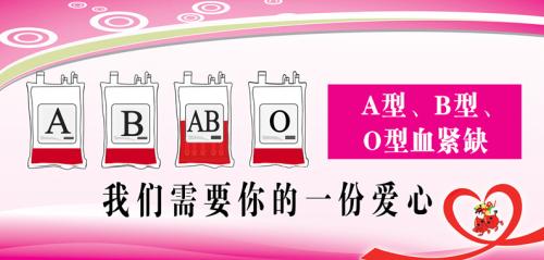 我市A、B、O型血告急,急需您挽袖献血!