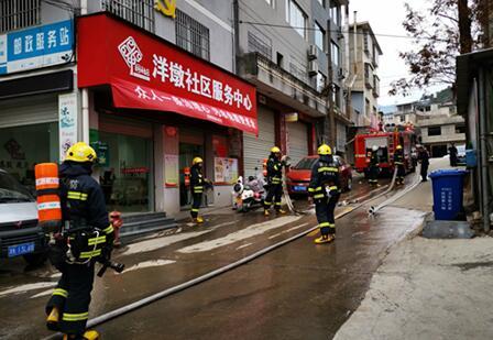 庆元县洋墩社区人防工作站组织开展消防演练