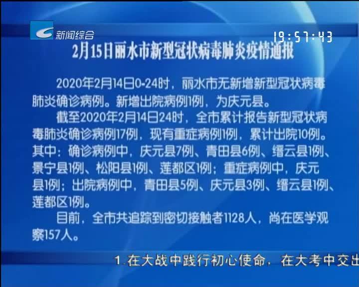 2月15日丽水市新型冠状病毒肺炎疫情通报