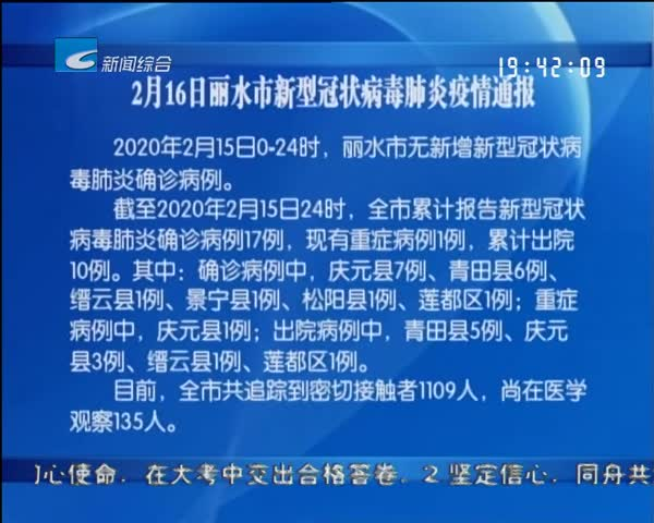 2月16日丽水市新型冠状病毒肺炎疫情通报