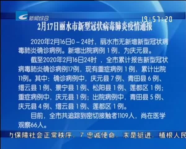 2月17日丽水市新型冠状病毒肺炎疫情通报